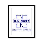 Navy Proud Wife  Framed Panel Print