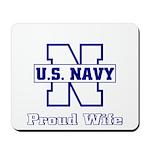 Navy Proud Wife Mousepad
