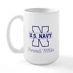 Navy Proud Wife Large Mug