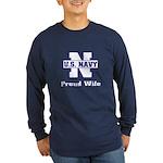 Navy Proud Wife Long Sleeve Dark T-Shirt