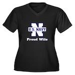 Navy Proud Wife Women's Plus Size V-Neck Dark T-S