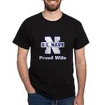 Navy Proud Wife Dark T-Shirt