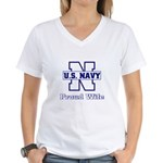 Navy Proud Wife Women's V-Neck T-Shirt