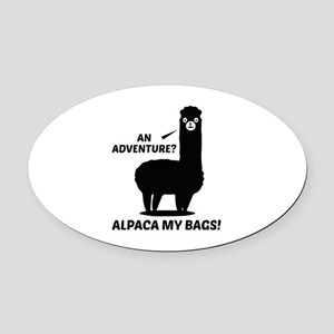 Alpaca My Bags Oval Car Magnet