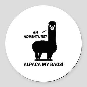 Alpaca My Bags Round Car Magnet