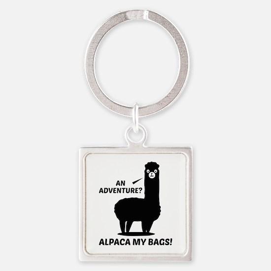 Alpaca My Bags Square Keychain