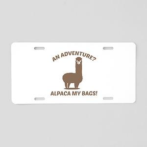 Alpaca My Bags Aluminum License Plate