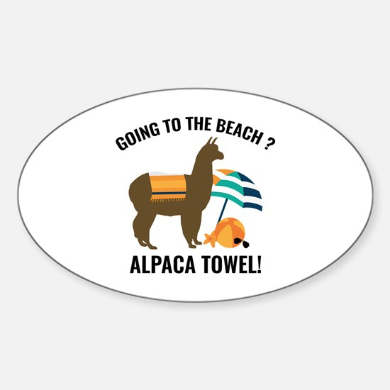 Alpaca Towel Sticker (Oval)