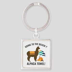 Alpaca Towel Square Keychain