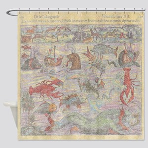 Sea Monsters Abound Shower Curtain