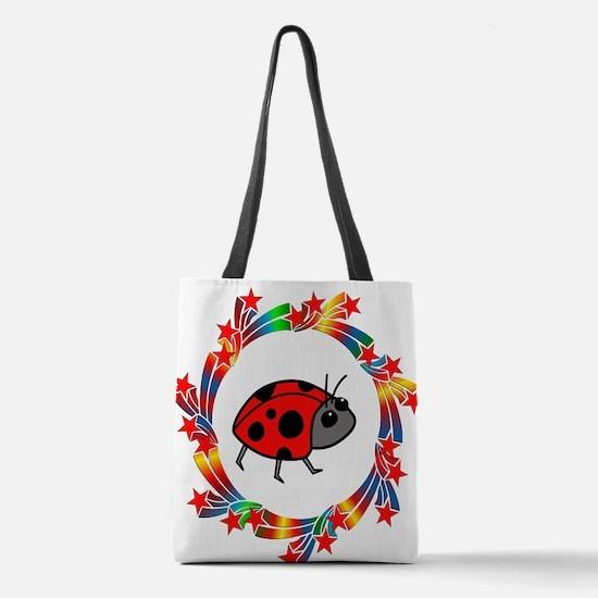 Ladybug Stars Polyester Tote Bag