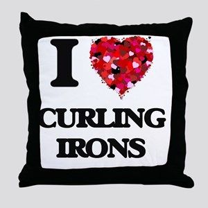 I love Curling Irons Throw Pillow