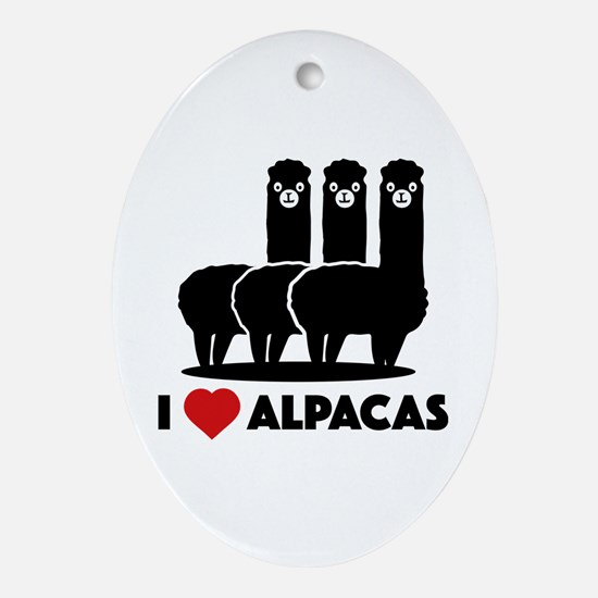 I Love Alpacas Ornament (Oval)