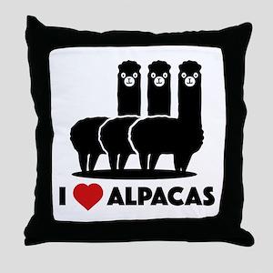 I Love Alpacas Throw Pillow