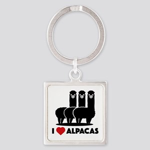 I Love Alpacas Square Keychain