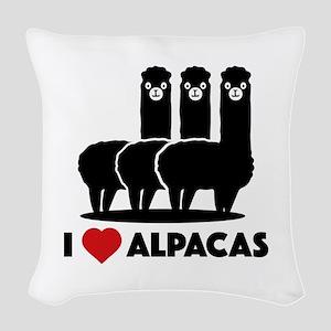 I Love Alpacas Woven Throw Pillow