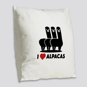 I Love Alpacas Burlap Throw Pillow