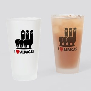 I Love Alpacas Drinking Glass