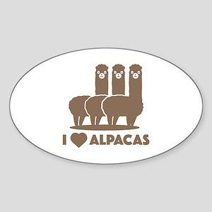 I Love Alpacas Sticker (Oval 10 pk)