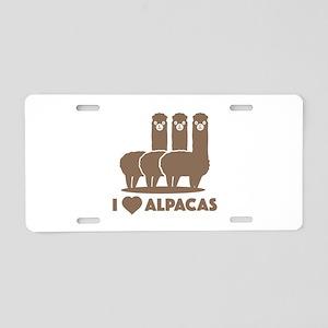 I Love Alpacas Aluminum License Plate
