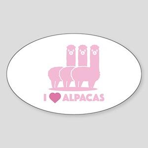 I Love Alpacas Sticker (Oval)