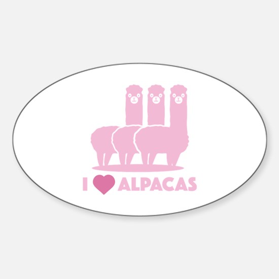 I Love Alpacas Sticker (Oval)