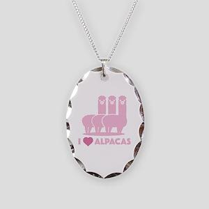 I Love Alpacas Necklace Oval Charm