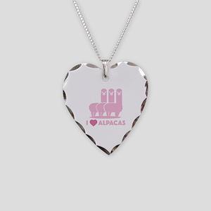 I Love Alpacas Necklace Heart Charm