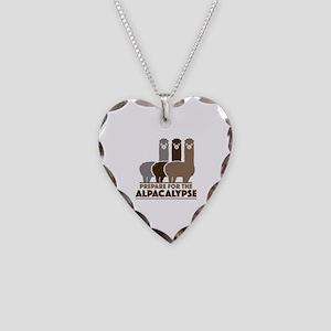 Prepare For The Alpacalypse Necklace Heart Charm