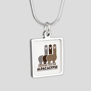 Prepare For The Alpacalypse Silver Square Necklace