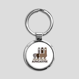 Prepare For The Alpacalypse Round Keychain
