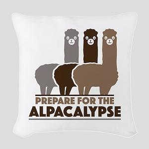 Prepare For The Alpacalypse Woven Throw Pillow
