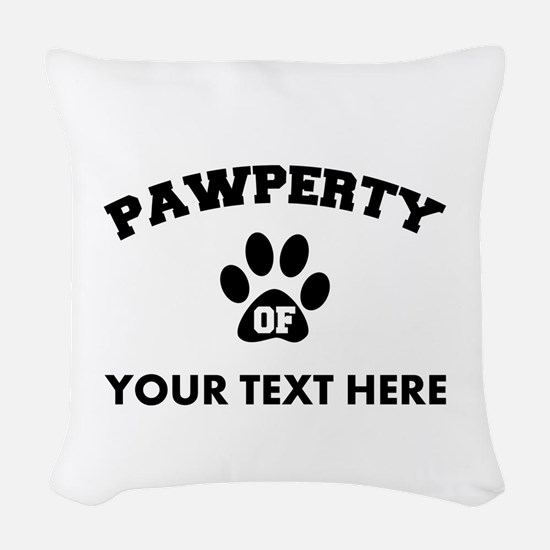 Personalized Dog Pawperty Woven Throw Pillow