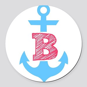 Blue Anchor with a B Round Car Magnet