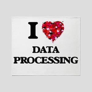 I love Data Processing Throw Blanket