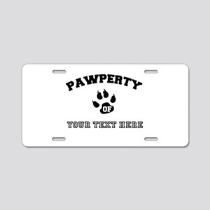 Personalized Cat Pawperty Aluminum License Plate