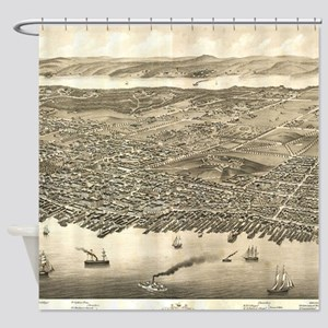Vintage Pictorial Map of Halifax (1 Shower Curtain
