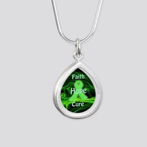 Green Ribbon Awareness Silver Teardrop Necklace