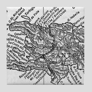 Vintage Map of Haiti (1911) Tile Coaster