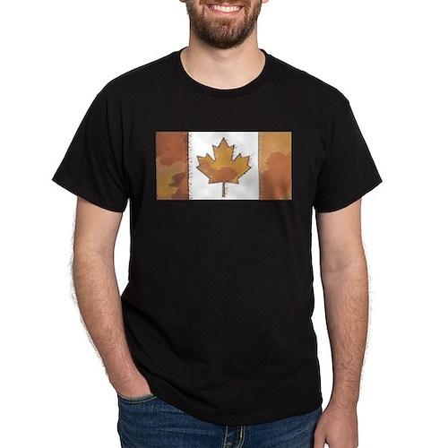 Canadian Flag Fall Red & Orange Autumn T-Shirt