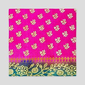 Pink Blue Sari Art Queen Duvet