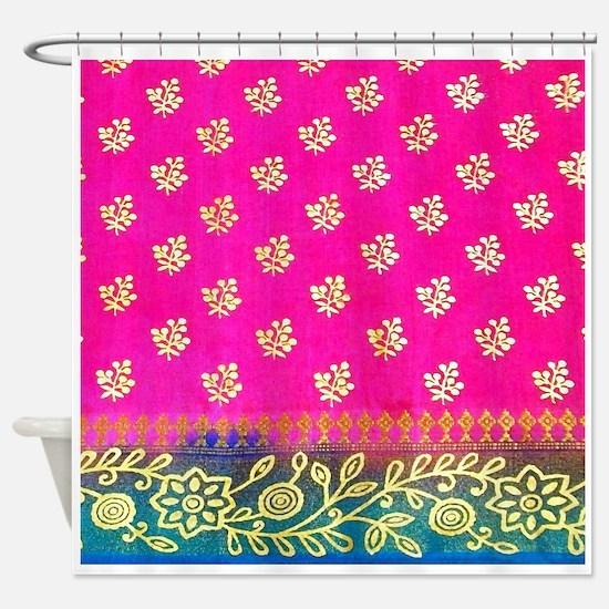 Pink Blue Sari Art Shower Curtain