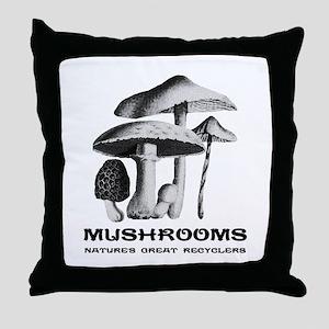 Mushrooms Recycle Throw Pillow