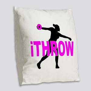 Pink Discus Burlap Throw Pillow