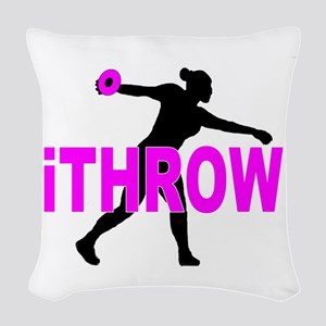 Pink Discus Woven Throw Pillow