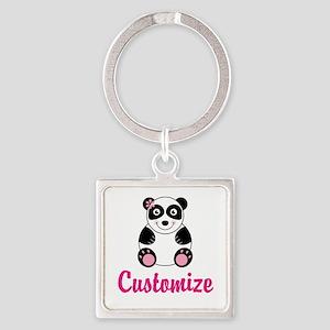 Custom Pink Panda Square Keychain