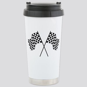racing car flags Stainless Steel Travel Mug