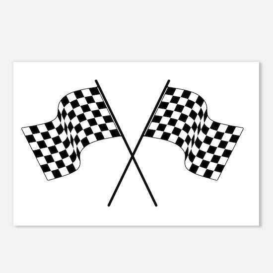 racing car flags Postcards (Package of 8)