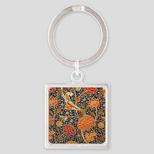 Vintage floral design, Cray Square Keychain