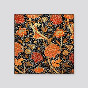 "Vintage floral design, Cray Square Sticker 3"" x 3"""
